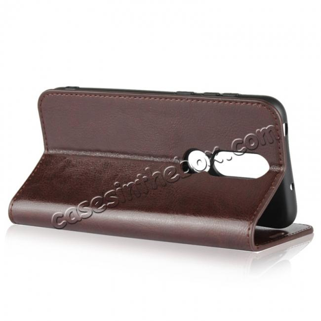 best price For Nokia X6 Luxury Crazy Horse Genuine Leather Case Flip Stand Card Slot - Coffee