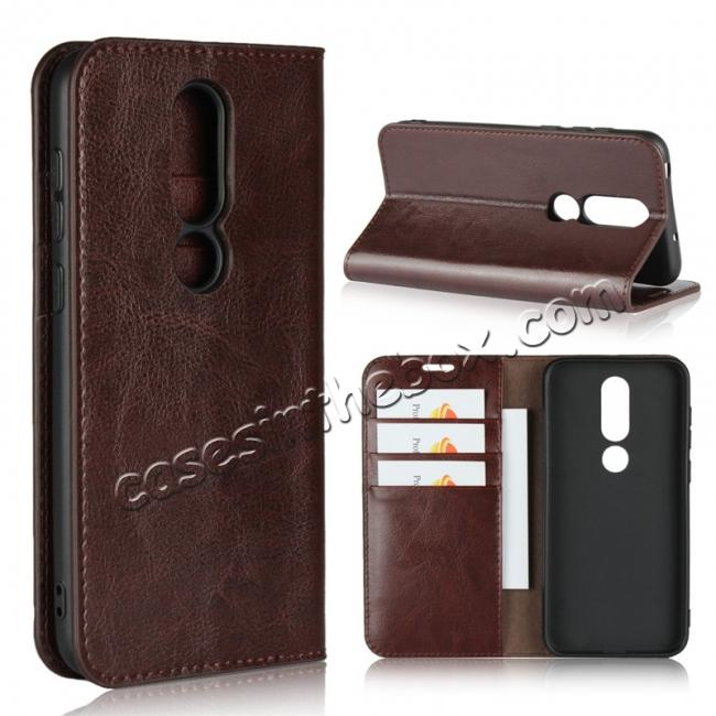 wholesale For Nokia X6 Luxury Crazy Horse Genuine Leather Case Flip Stand Card Slot - Coffee