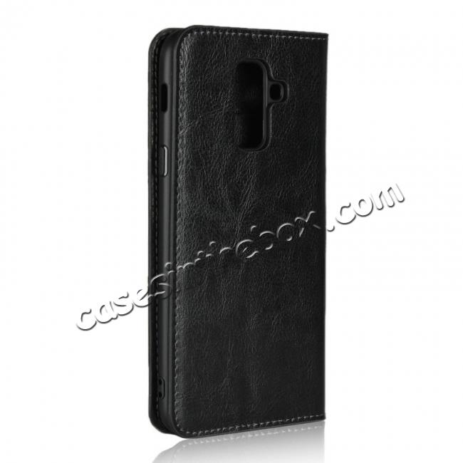 cheap For Samsung Galaxy A6+ (2018) Premium Crazy Horse Genuine Leather Case Flip Stand Card Slot - Black