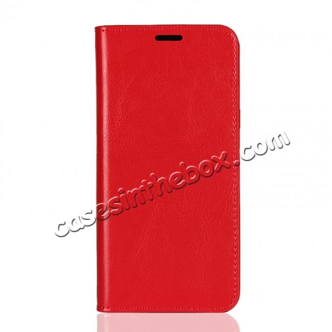 discount For Samsung Galaxy A6+ (2018) Premium Crazy Horse Genuine Leather Case Flip Stand Card Slot - Red