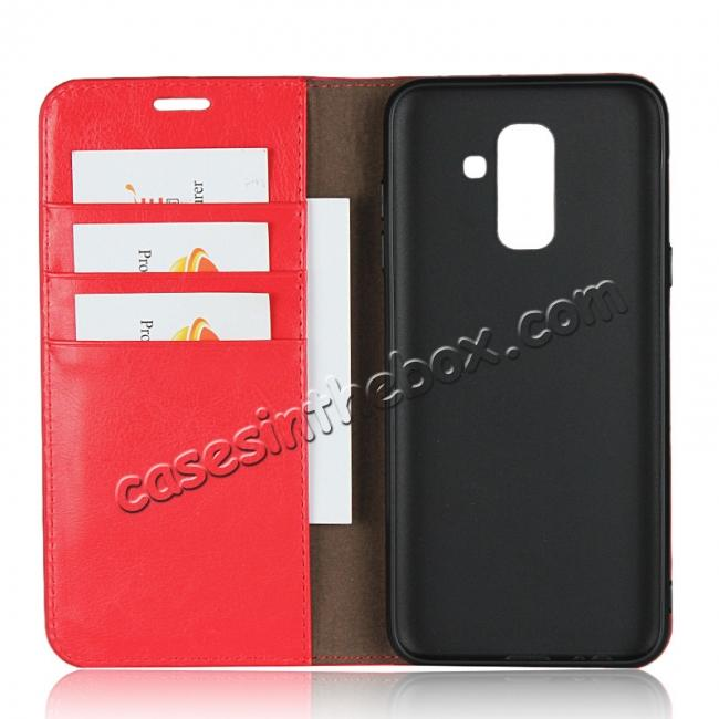 top quality For Samsung Galaxy A6+ (2018) Premium Crazy Horse Genuine Leather Case Flip Stand Card Slot - Red