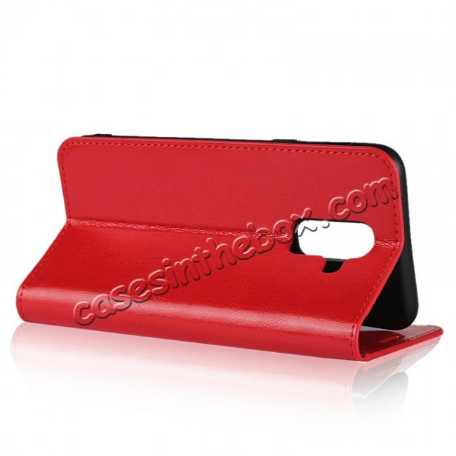 best price For Samsung Galaxy A6+ (2018) Premium Crazy Horse Genuine Leather Case Flip Stand Card Slot - Red