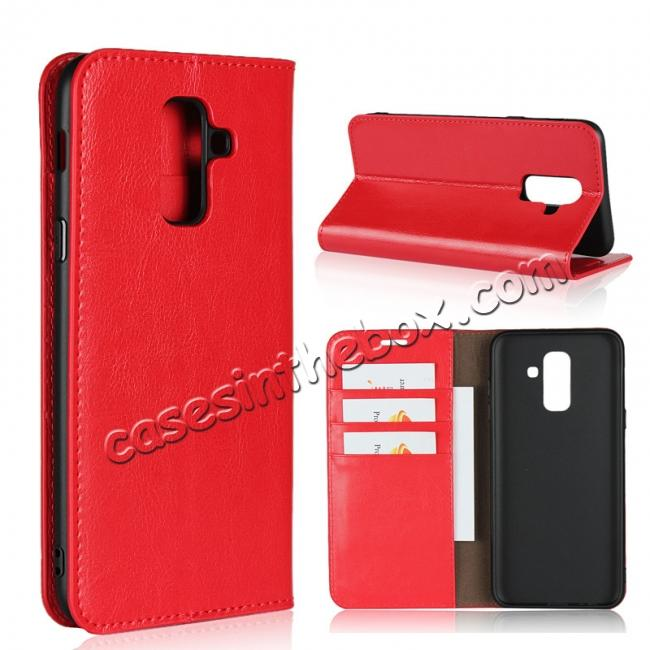 wholesale For Samsung Galaxy A6+ (2018) Premium Crazy Horse Genuine Leather Case Flip Stand Card Slot - Red