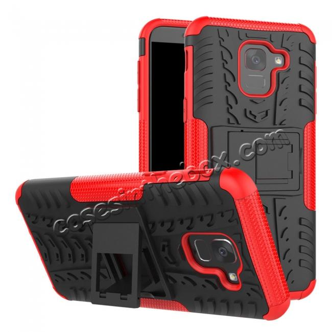 best price For Samsung Galaxy J6 Rugged Armor Shockproof Hybrid Kickstand Case Cover