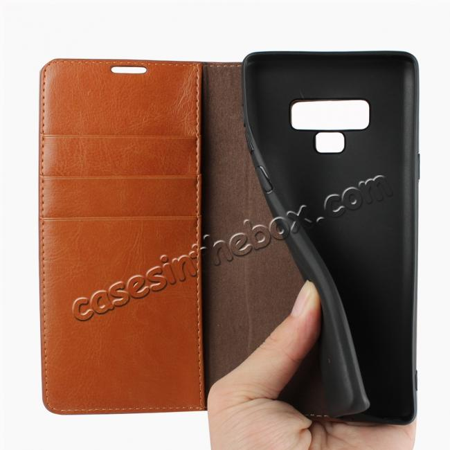 high quanlity For Samsung Galaxy Note 9 Crazy Horse Genuine Leather Case Flip Stand Card Slot