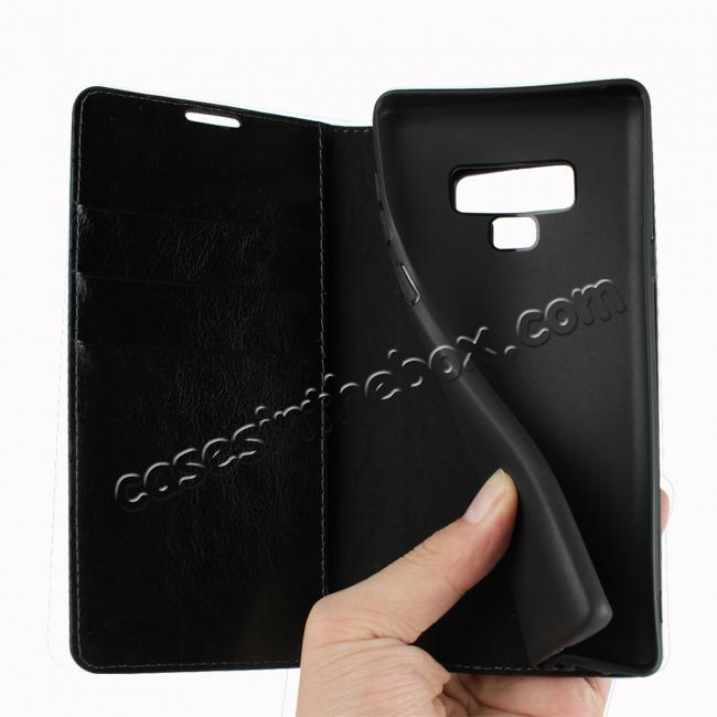 low price For Samsung Galaxy Note 9 Crazy Horse Genuine Leather Case Flip Stand Card Slot