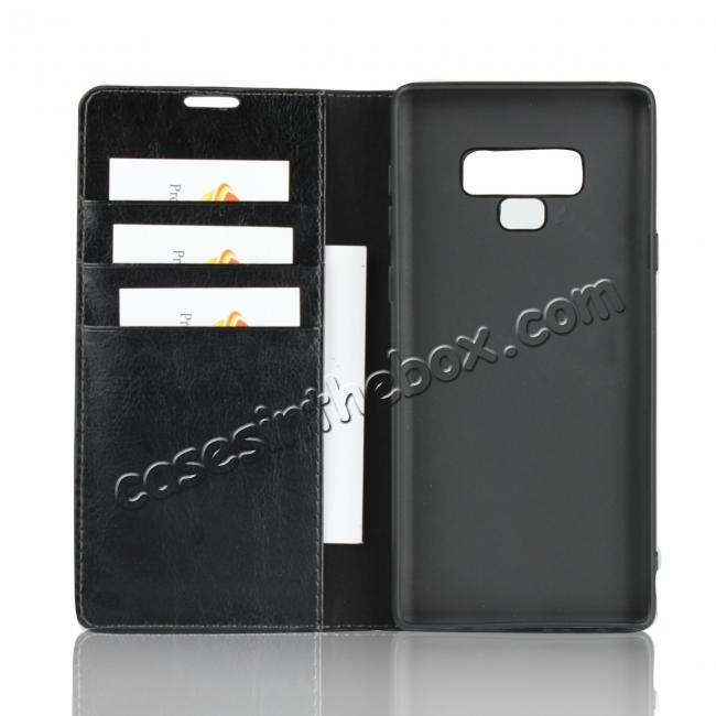 China leading wholesale For Samsung Galaxy Note 9 Crazy Horse Genuine Leather Case Flip Stand Card Slot