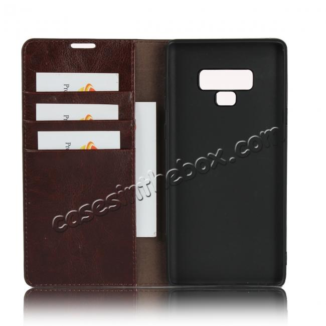 cheap wholesale For Samsung Galaxy Note 9 Crazy Horse Genuine Leather Case Flip Stand Card Slot