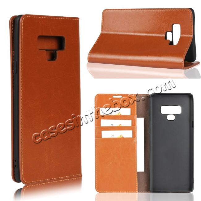 best price For Samsung Galaxy Note 9 Crazy Horse Genuine Leather Case Flip Stand Card Slot
