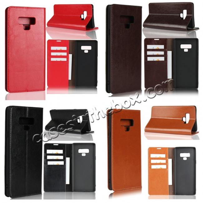 wholesale For Samsung Galaxy Note 9 Crazy Horse Genuine Leather Case Flip Stand Card Slot