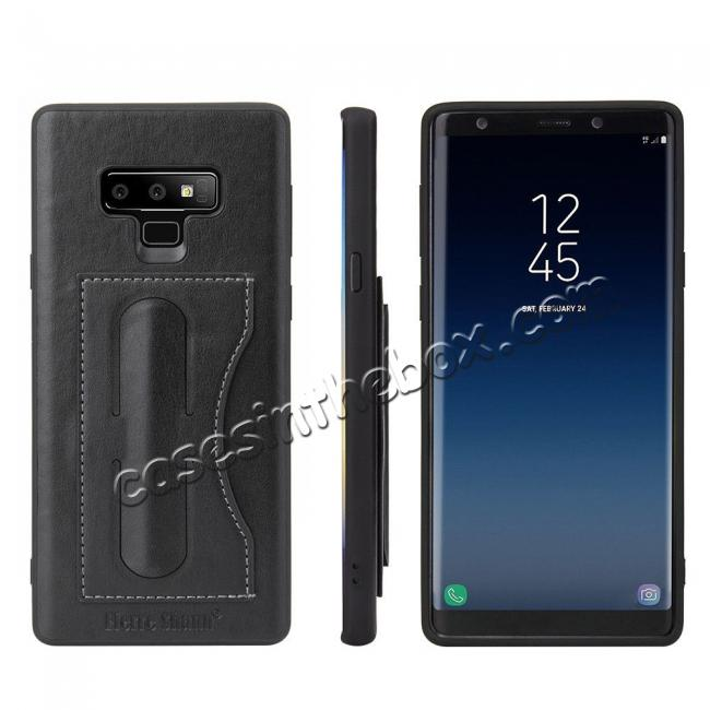 wholesale For Samsung Galaxy Note 9 Kickstand Card Pocket Leather Case Back Cover - Black
