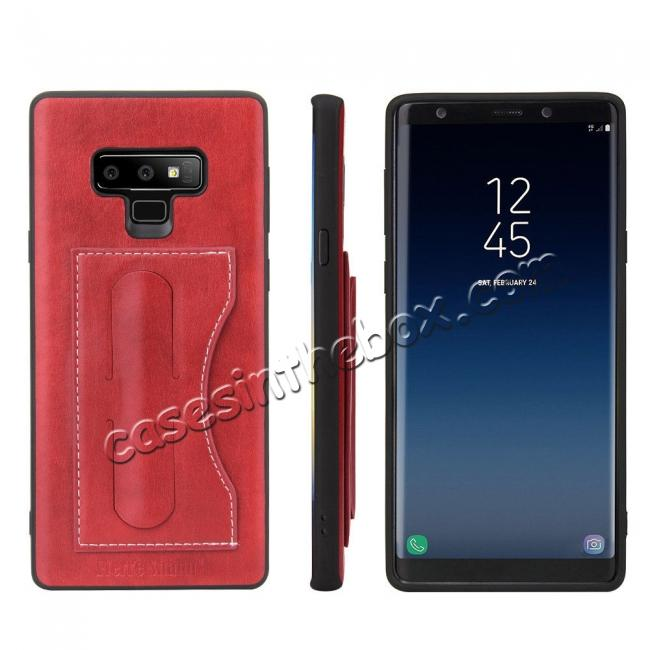 wholesale For Samsung Galaxy Note 9 Kickstand Card Pocket Leather Case Back Cover - Red