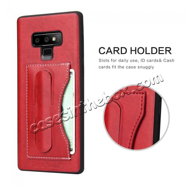 top quality For Samsung Galaxy Note 9 Kickstand Card Pocket Leather Case Back Cover - Red