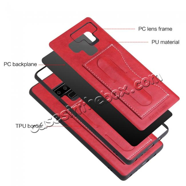 low price For Samsung Galaxy Note 9 Kickstand Card Pocket Leather Case Back Cover - Red