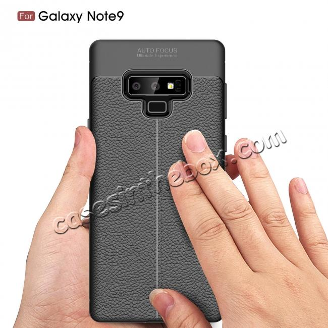 discount For Samsung Note 9 Litchi Grain Carbon Fiber Shockproof Soft Case Cover