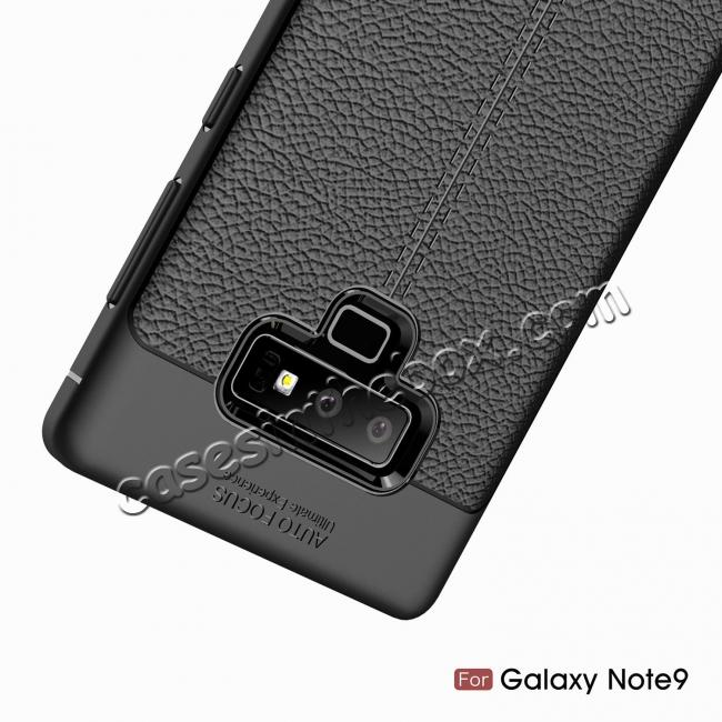 top quality For Samsung Note 9 Litchi Grain Carbon Fiber Shockproof Soft Case Cover