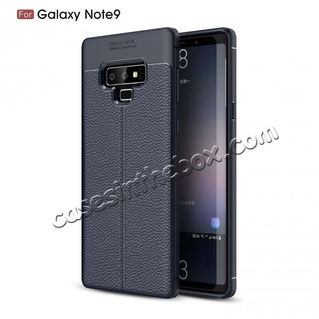 low price For Samsung Note 9 Litchi Grain Carbon Fiber Shockproof Soft Case Cover