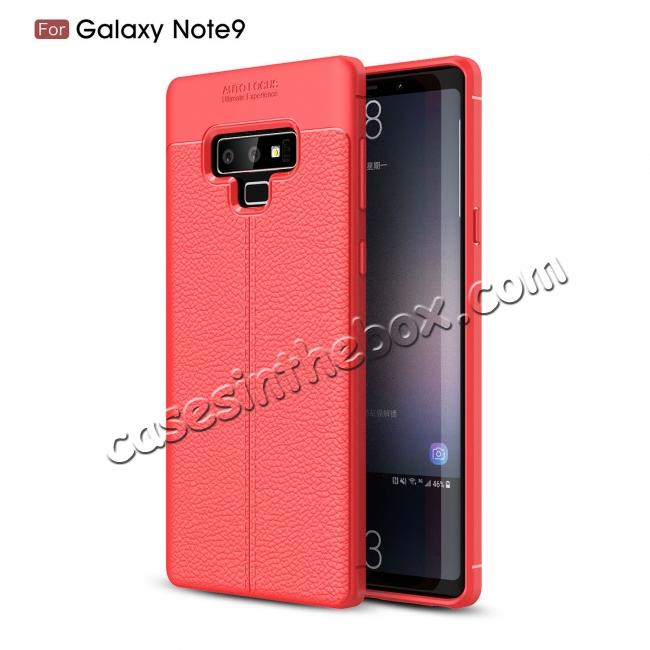 china wholesale For Samsung Note 9 Litchi Grain Carbon Fiber Shockproof Soft Case Cover