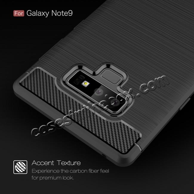 best price For Samsung Note 9 Shockproof Carbon Fiber Soft TPU Rubber Case Cover