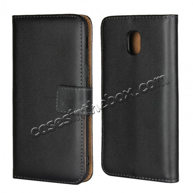 wholesale Genuine Leather Stand Wallet Case for Samsung Galaxy J3 (2018) with Card Slots&holder - Black