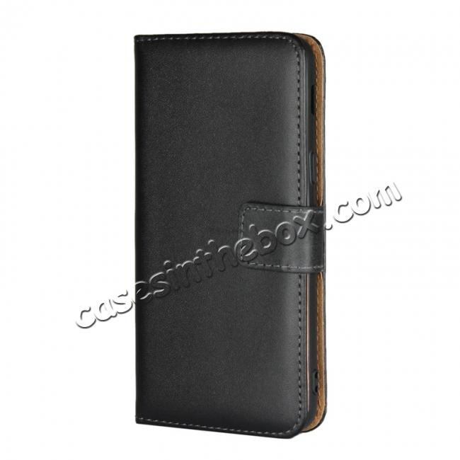 discount Genuine Leather Stand Wallet Case for Samsung Galaxy J3 (2018) with Card Slots&holder - Black