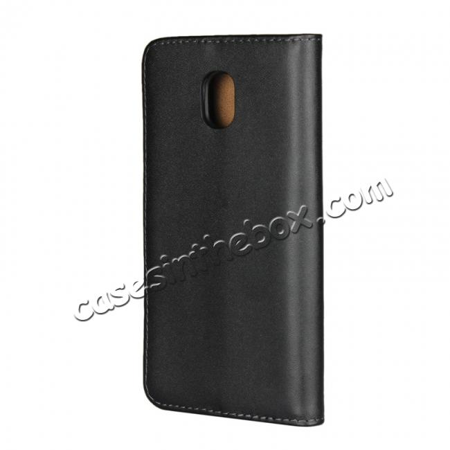 cheap Genuine Leather Stand Wallet Case for Samsung Galaxy J3 (2018) with Card Slots&holder - Black