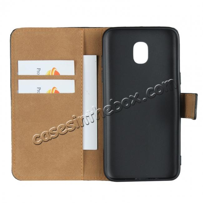 on sale Genuine Leather Stand Wallet Case for Samsung Galaxy J3 (2018) with Card Slots&holder - Black