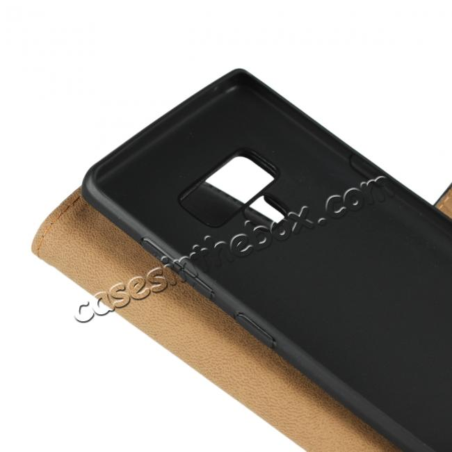 on sale Genuine Leather Wallet Card Flip Case Cover for Samsung Galaxy Note 9 Black