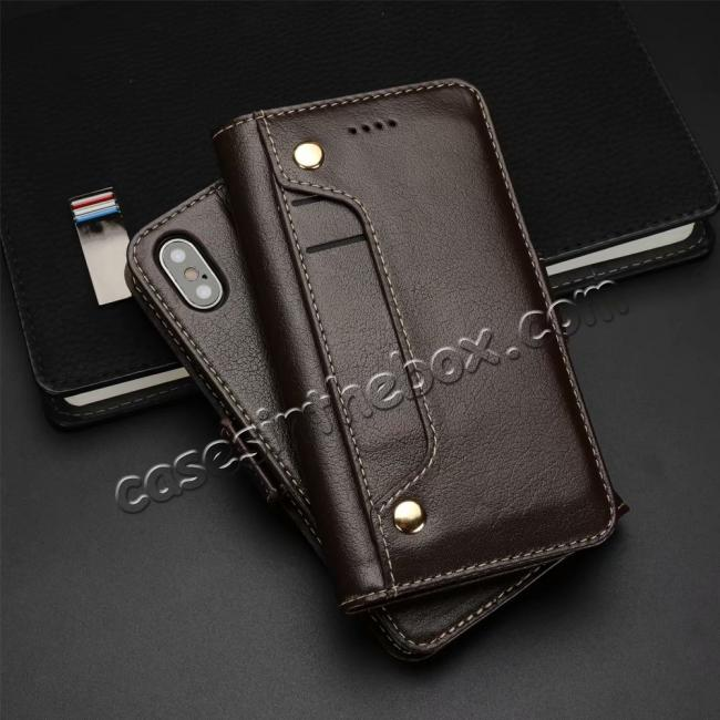 top quality Genuine Yak Hide Card Slots Flip Leather Case For iPhone X - Brown