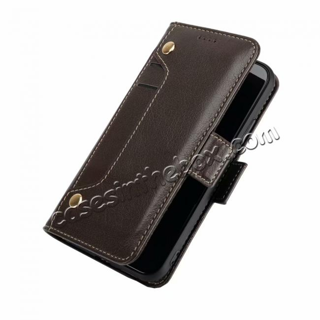wholesale Genuine Yak Hide Card Slots Flip Leather Case For iPhone X - Brown
