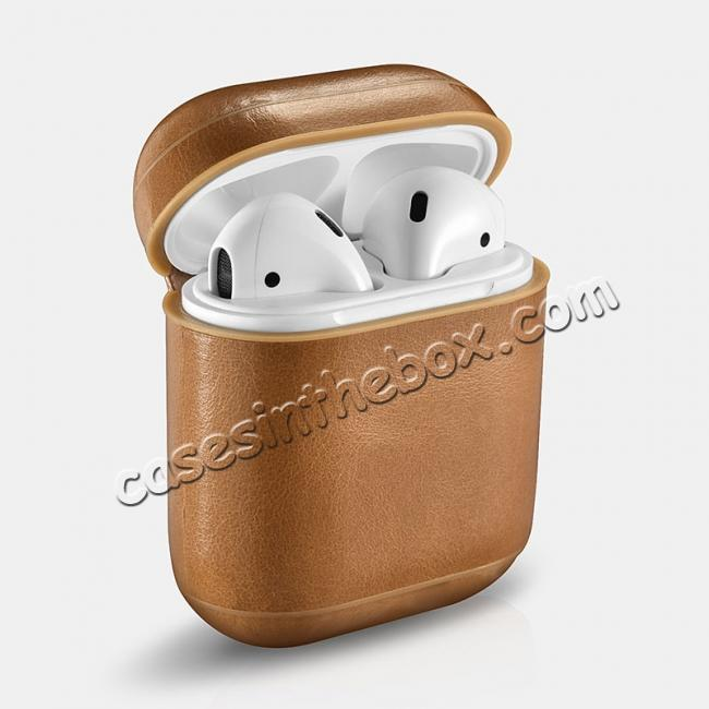 cheap ICARER Vintage Series Real Leather Case With Metal Hook for Apple Airpods