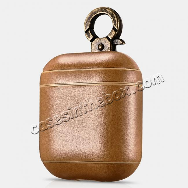 wholesale ICARER Vintage Series Real Leather Case With Metal Hook for Apple Airpods