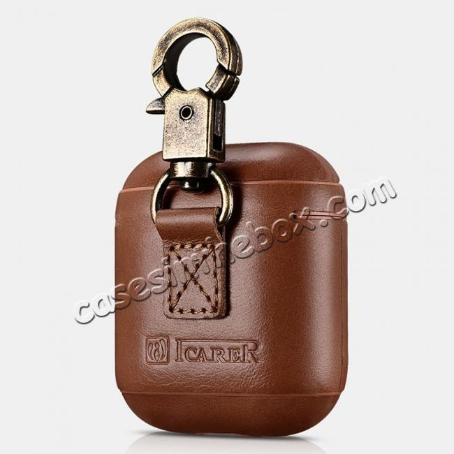 low price ICARER Vintage Series Real Leather Case With Metal Hook for Apple Airpods