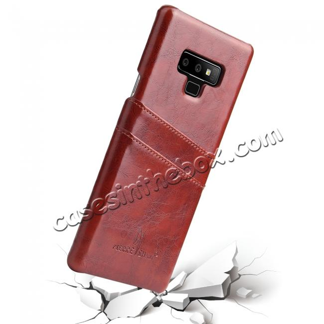 cheap Oil Wax Leather Card Holder Back Case Cover for Samsung Galaxy Note 9 - Brown