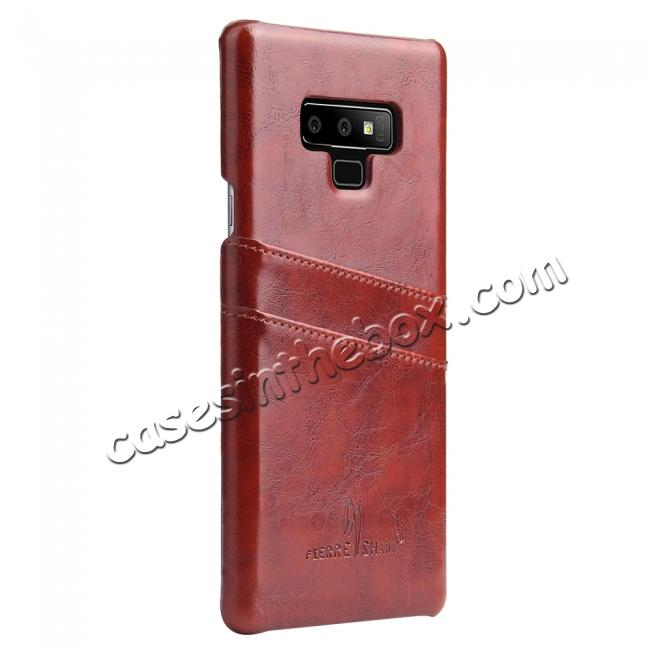 discount Oil Wax Leather Card Holder Back Case Cover for Samsung Galaxy Note 9 - Brown