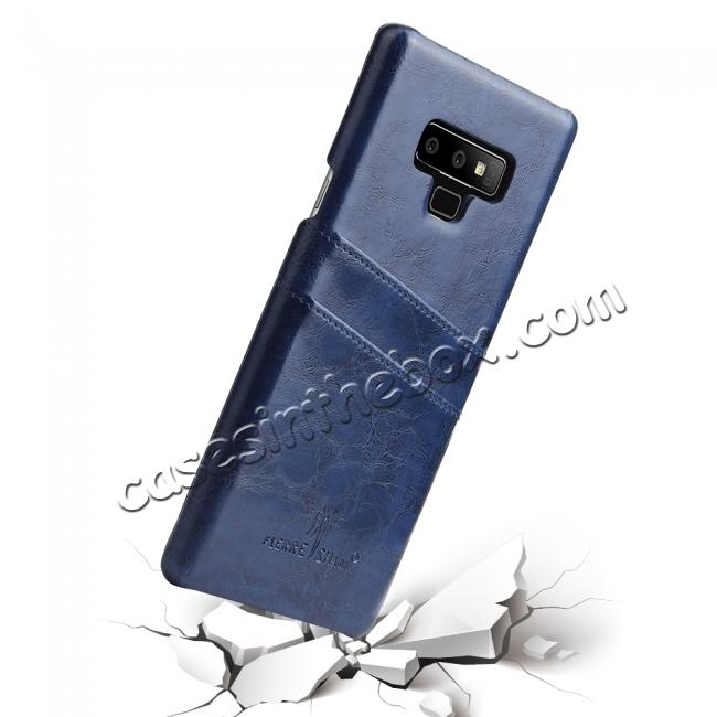 cheap Oil Wax Leather Card Holder Back Case Cover for Samsung Galaxy Note 9 - Dark Blue