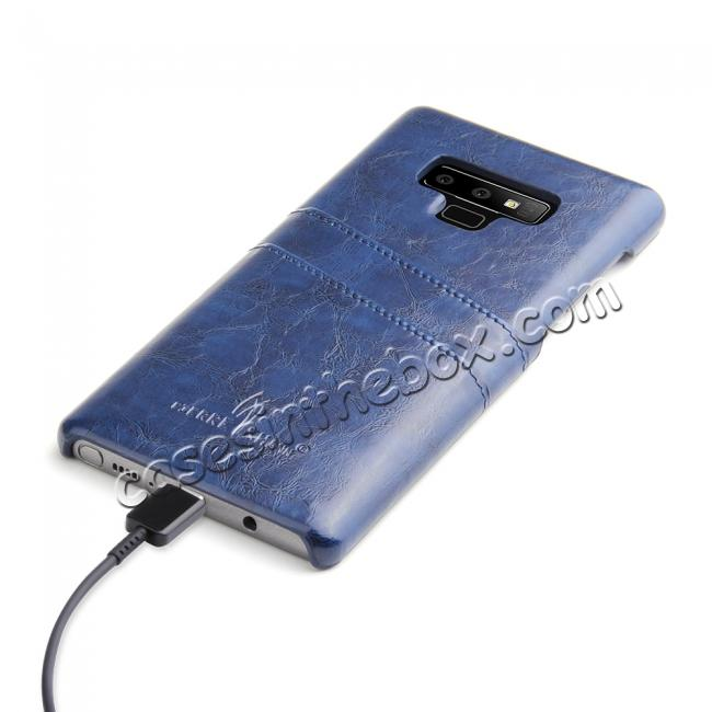 top quality Oil Wax Leather Card Holder Back Case Cover for Samsung Galaxy Note 9 - Dark Blue