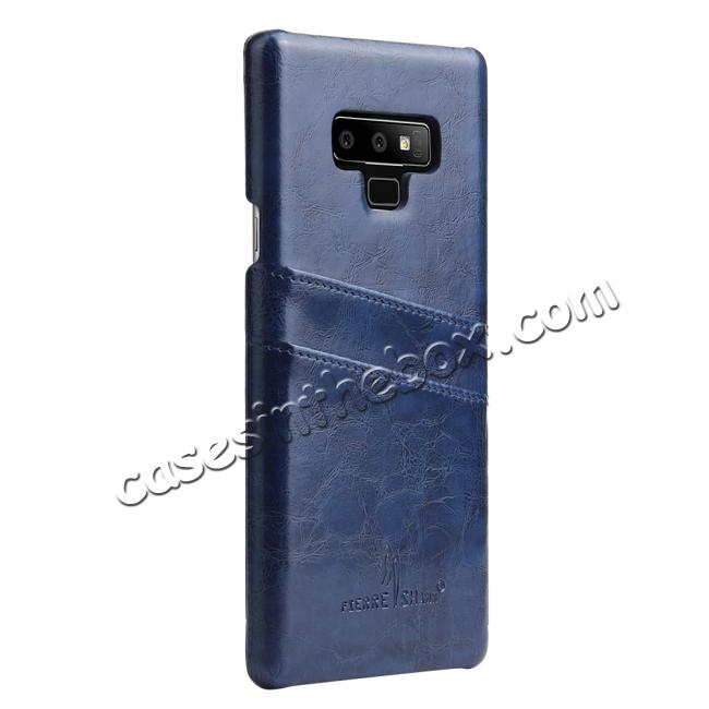 discount Oil Wax Leather Card Holder Back Case Cover for Samsung Galaxy Note 9 - Dark Blue