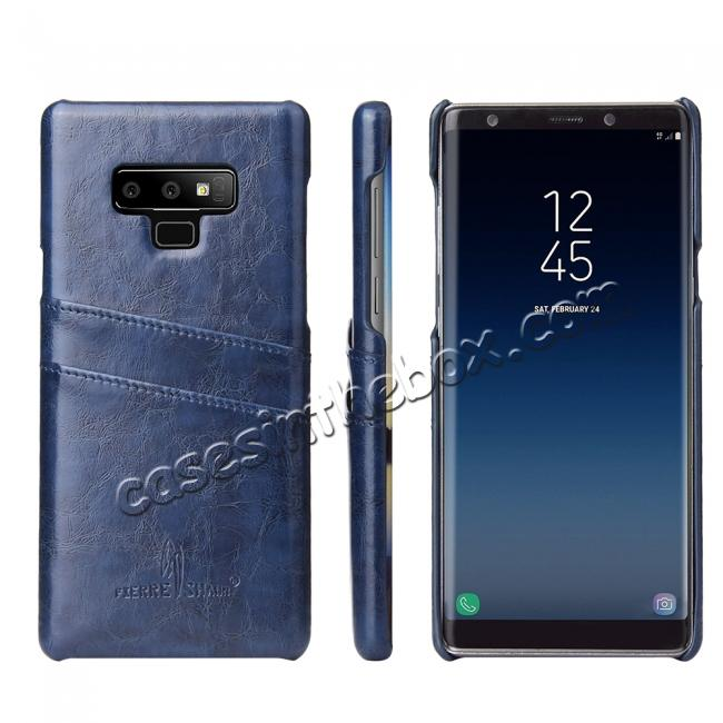 wholesale Oil Wax Leather Card Holder Back Case Cover for Samsung Galaxy Note 9 - Dark Blue
