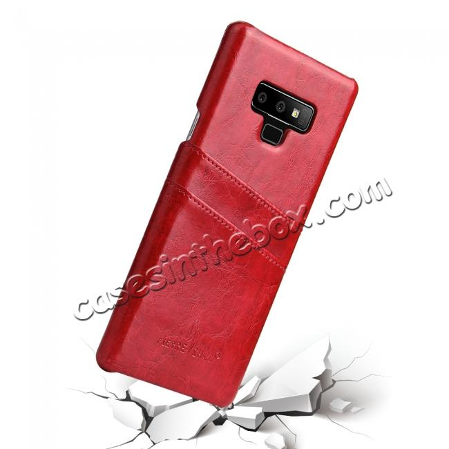 best price Oil Wax Leather Card Holder Back Case Cover for Samsung Galaxy Note 9 - Red