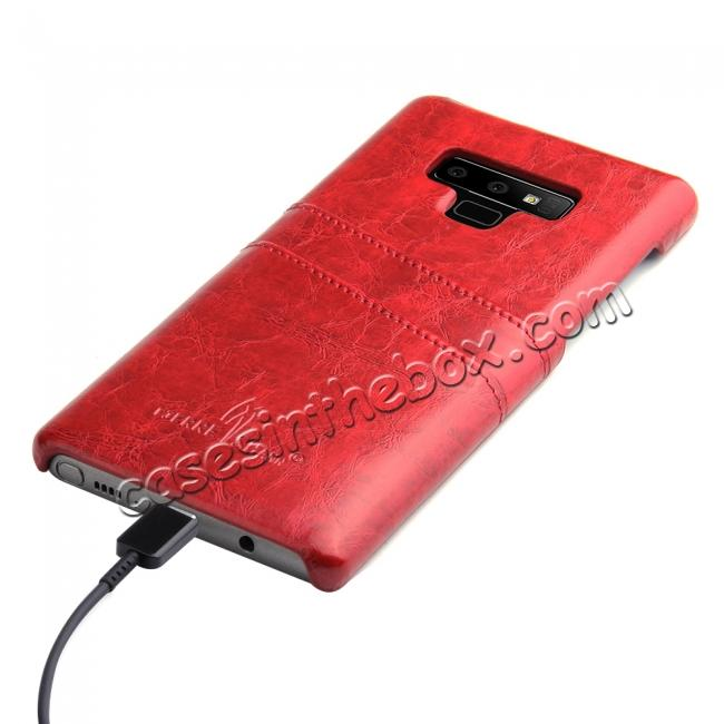 top quality Oil Wax Leather Card Holder Back Case Cover for Samsung Galaxy Note 9 - Red
