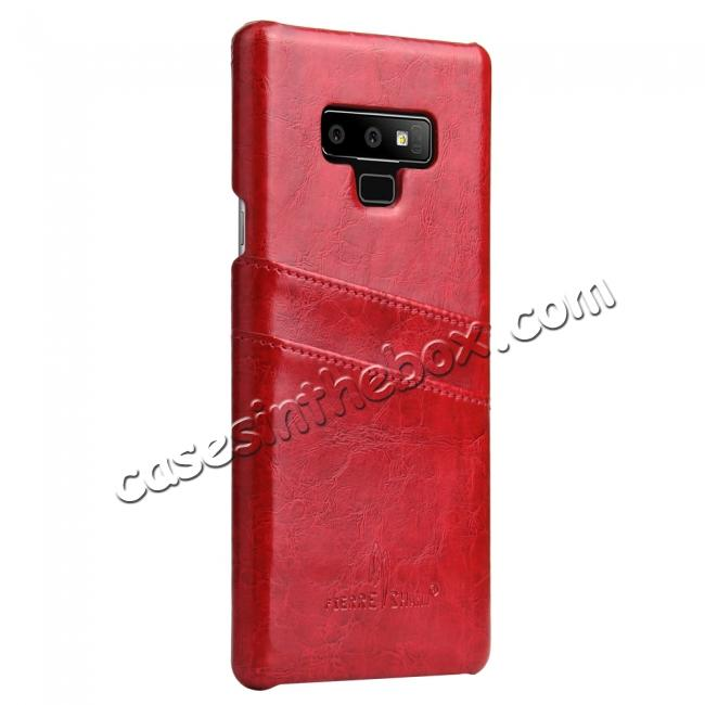 discount Oil Wax Leather Card Holder Back Case Cover for Samsung Galaxy Note 9 - Red