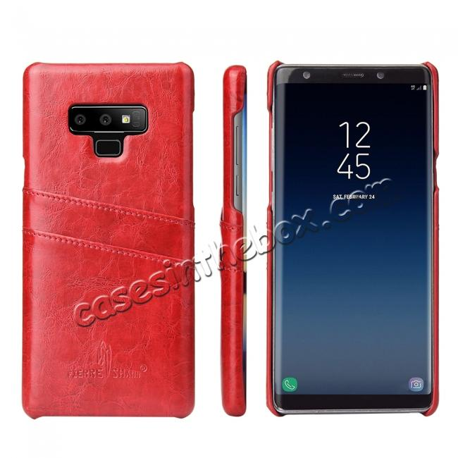 wholesale Oil Wax Leather Card Holder Back Case Cover for Samsung Galaxy Note 9 - Red