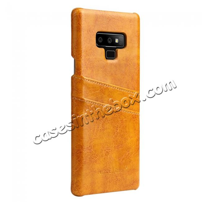 discount Oil Wax Leather Card Holder Back Case Cover for Samsung Galaxy Note 9 - Yellow