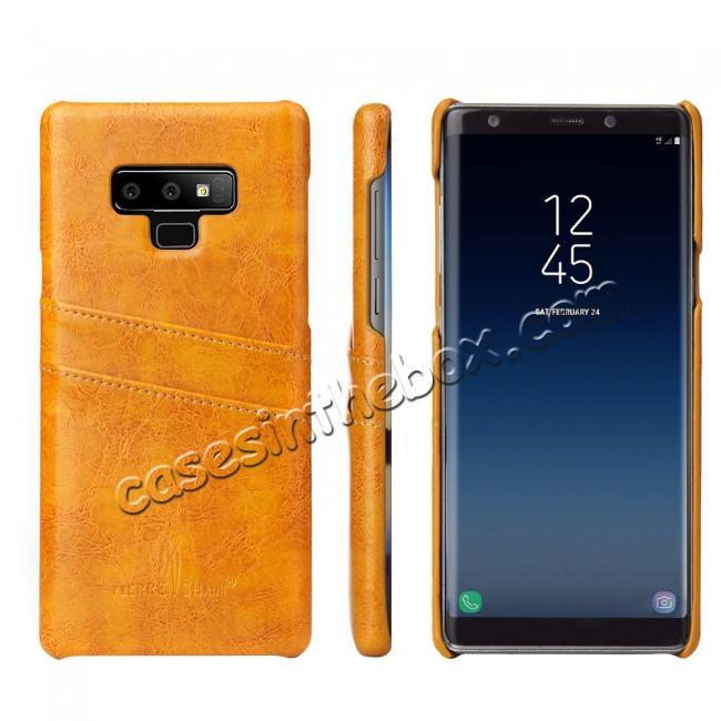 wholesale Oil Wax Leather Card Holder Back Case Cover for Samsung Galaxy Note 9 - Yellow