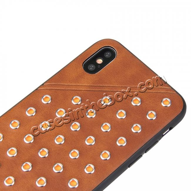 top quality Rivet Design Leather Soft TPU Back Case Cover for iPhone X - Brown
