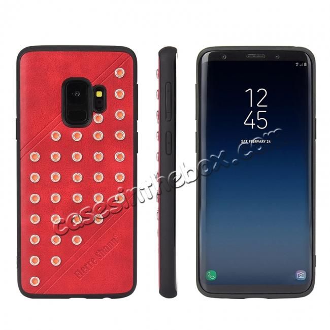 discount Rivet Design Leather Soft TPU Hybrid Back Case for Samsung S9