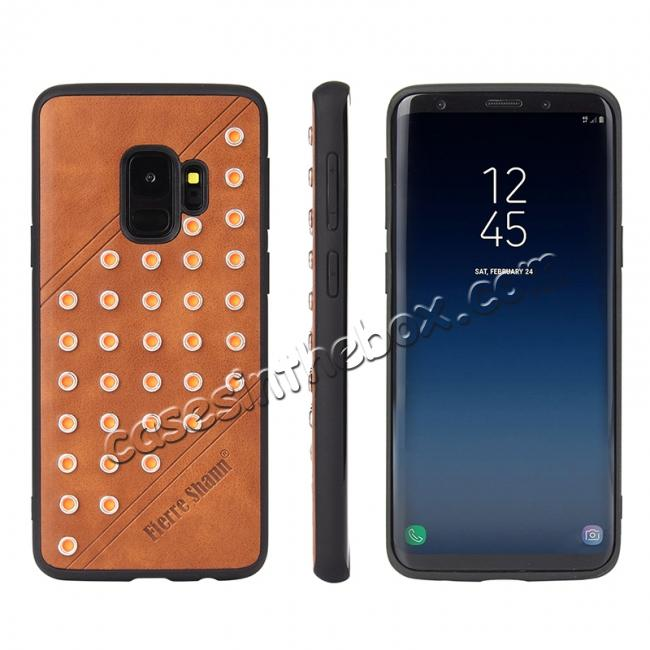 wholesale Rivet Design Leather Soft TPU Hybrid Back Case for Samsung S9