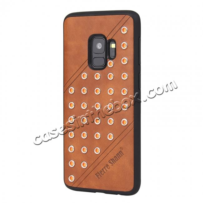 best price Rivet Design Leather Soft TPU Hybrid Back Case for Samsung S9