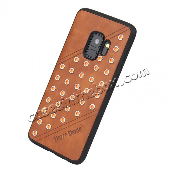 low price Rivet Design Leather Soft TPU Hybrid Back Case for Samsung S9